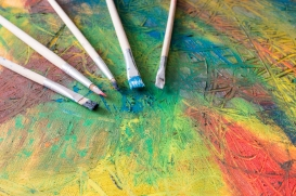 Painting of abstract painting with paintbrushes